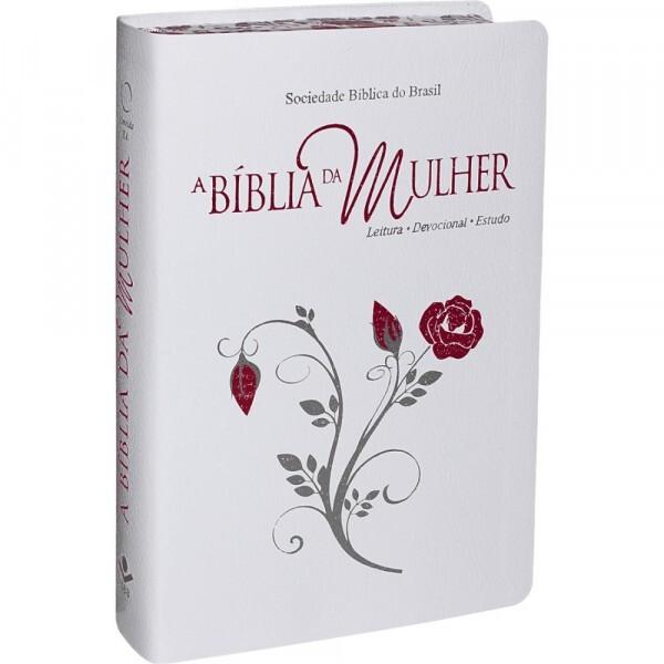 Bíblia da Mulher |Branca com Bordas Floridas | RA067BMRAW2