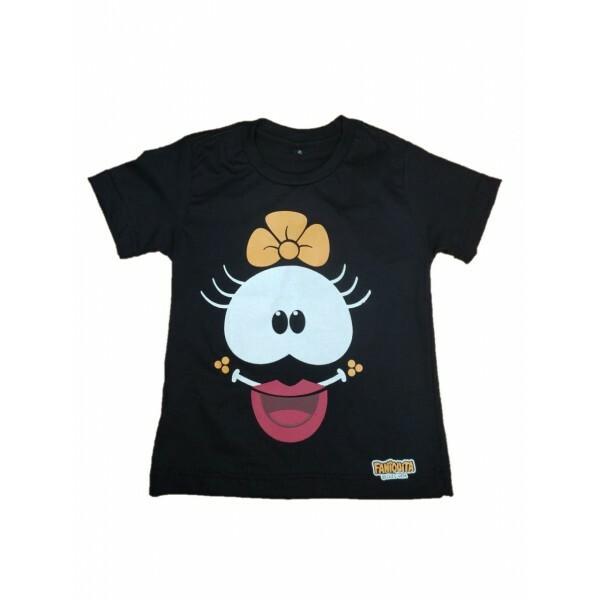 Camiseta Faniquita Preta Frente e verso  Tamanho 4