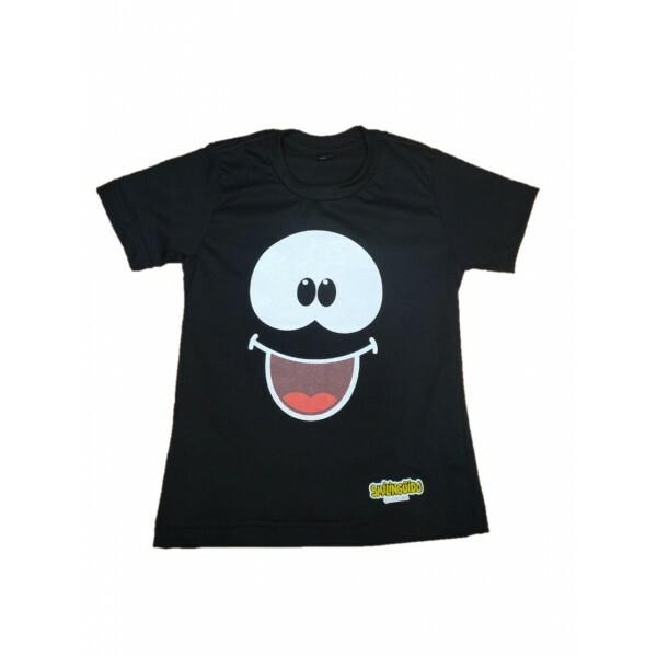 Camiseta Smilinguido  Preta  Frente e verso Tamanho 8