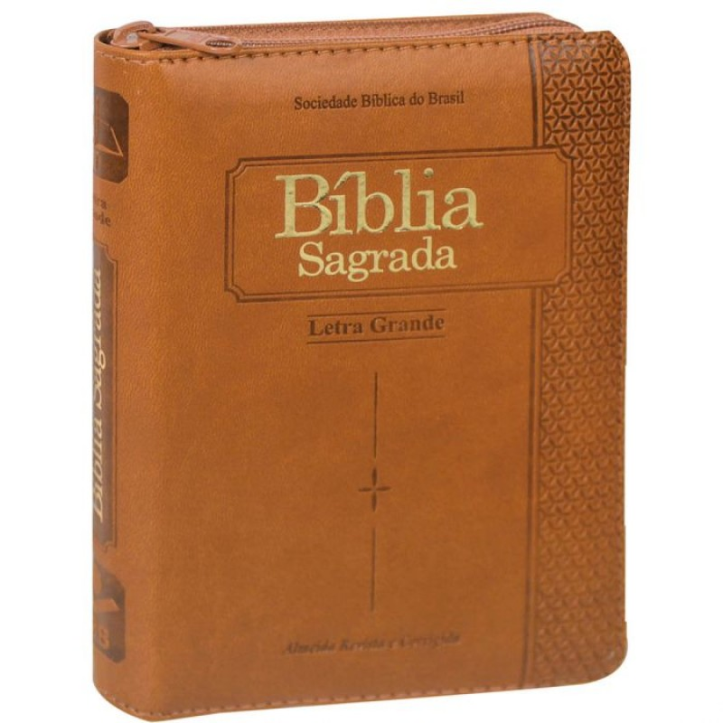 Bíblia Sagrada | Com Índice | Zíper | Capa Luxo | Marrom | ARC045TILZLG